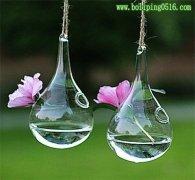 透明玻璃花瓶悬挂式 创意水滴型吊球花瓶
