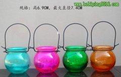 颜色玻璃烛台 高6.9cm